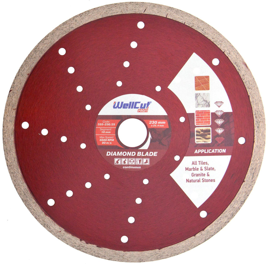 WELLCUT Diamond Continuous (Tile) Blade 230 mm x 25.4 mm. Industrial Quality - Novotools
