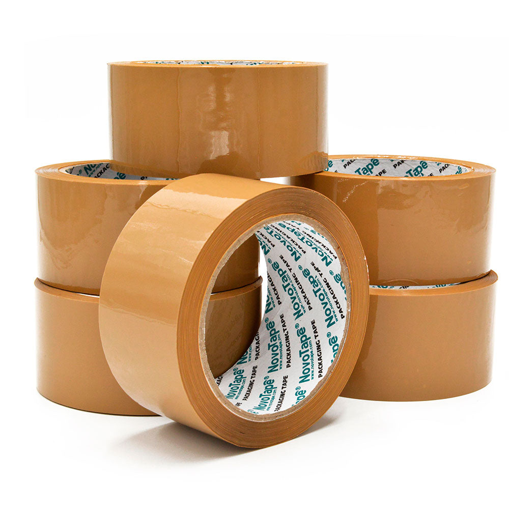 NOVOTAPE Heavy Duty Brown Packaging Tape 48mm x 66m, Pack of 6 Rolls - Novotools