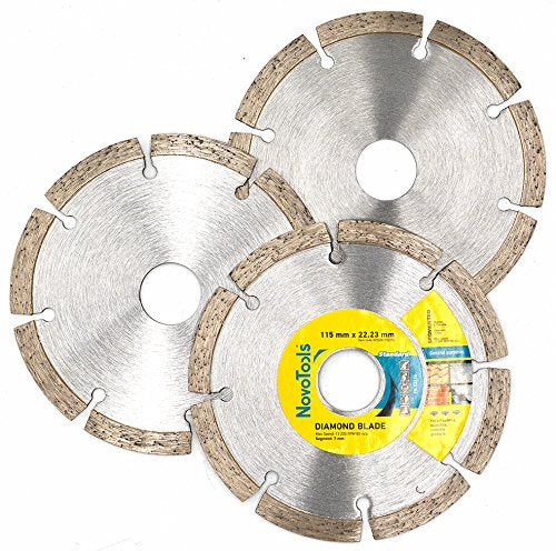 NOVOTOOLS Diamond Blades 115 x 22.2 mm Segmented - Set of 3 pcs - Novotools