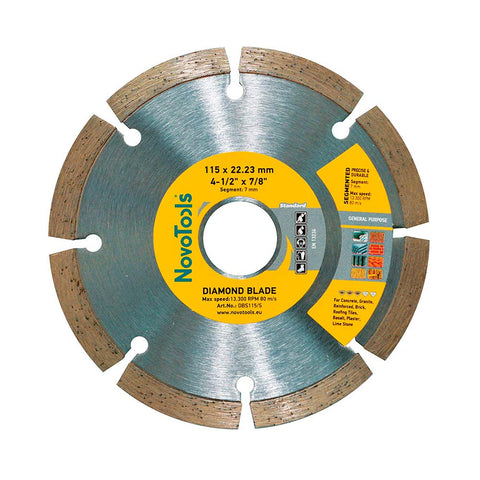 Image of NOVOTOOLS Diamond Blade 115 x 22.2 mm Segmented - Novotools