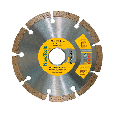 Image of NOVOTOOLS Diamond Blade 125 x 22.2 mm Segmented - Novotools