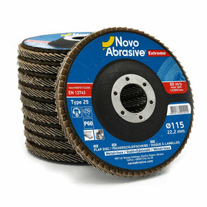 NOVOABRASIVE Zirconia Flap Disc 115mm Grit 60 - pack of 10 pcs - Novotools