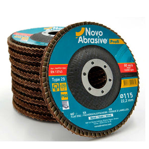 NOVOABRASIVE Flap Disc 115mm Grit 60 - pack 10 pcs - Novotools
