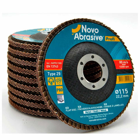 NOVOABRASIVE Flap Disc 115mm Grit 80 - pack 10 pcs - Novotools