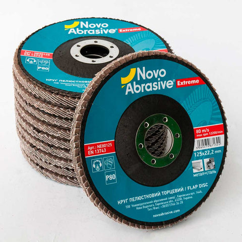 NOVOABRASIVE Zirconia Flap Disc 125mm Grit 80 - pack of 10 pcs - Novotools