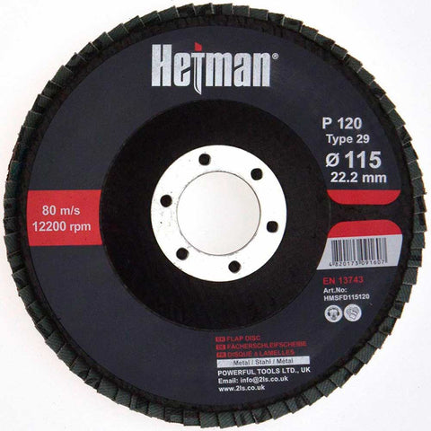 HETMAN Flap Disc 115mm Grit 120 - pack 10 pcs - Novotools