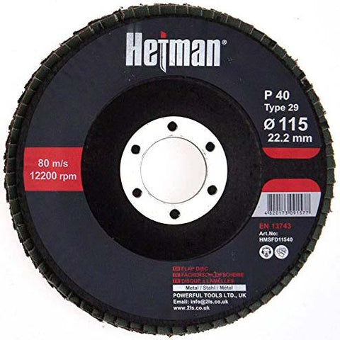 HETMAN Flap Disc 115mm Grit 40 - pack 10 pcs - Novotools