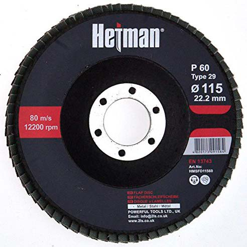 HETMAN Flap Disc 115mm Grit 60 - pack 10 pcs - Novotools