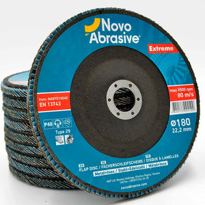 NOVOABRASIVE Zirconia Flap Disc 180mm Grit 40 - pack of 10 pcs - Novotools