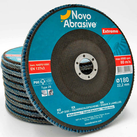 NOVOABRASIVE Zirconia Flap Disc 180mm Grit 60 - pack of 10 pcs - Novotools