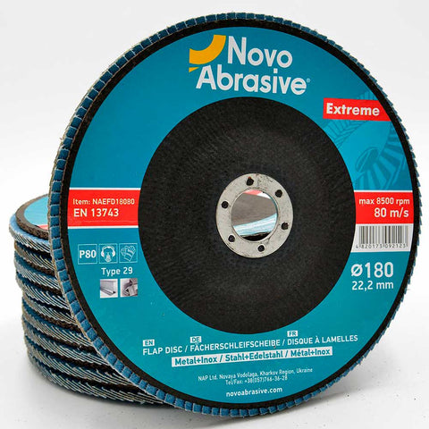NOVOABRASIVE Zirconia Flap Disc 180mm Grit 80 - pack of 10 pcs - Novotools