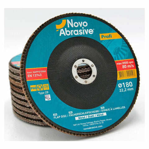 NOVOABRASIVE Flap Disc 180mm Grit 60 - pack 10 pcs - Novotools