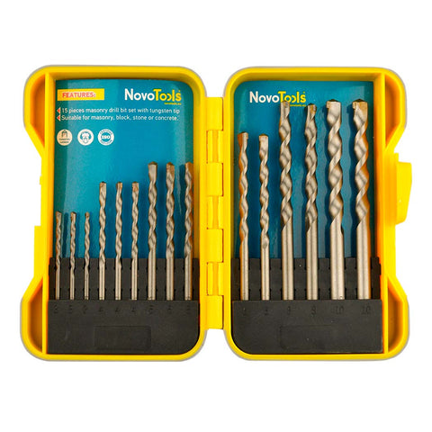 NOVOTOOLS Masonry Drill Bit Set (15 Pieces) Titanium Coated High Speed Steel - Novotools