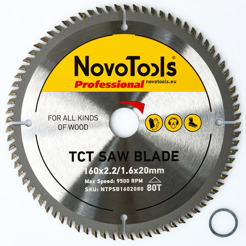 NOVOTOOLS Circular Saw Blade 165 x 20mm x 80 Teeth