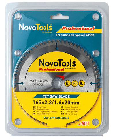 NOVOTOOLS Circular Saw Blade 165 x 20mm x 60 Teeth
