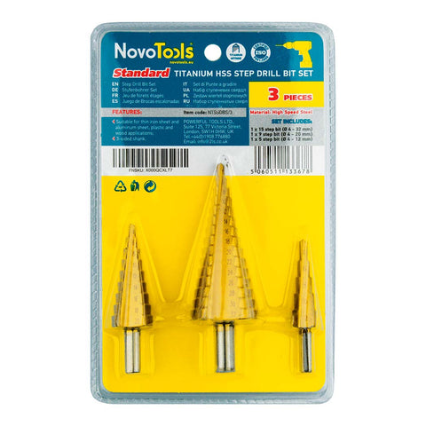 NOVOTOOLS HSS Step Cone Drill Bit Set (3 Pieces 4mm-12mm/20mm/32mm) - Novotools