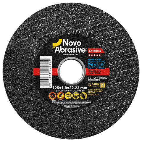 Cutting Discs 125 x 1.0 mm, pack of 10 pcs for Stainless Steel and Metal - Novotools