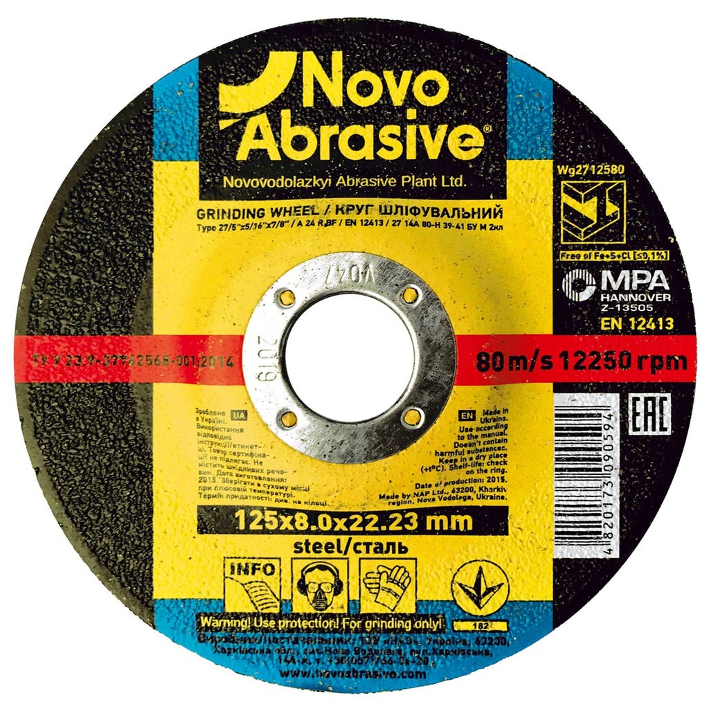 NOVOABRASIVE Metal Grinding Disc 125 x 8 x 22.2mm, pack of 10 pcs - Novotools