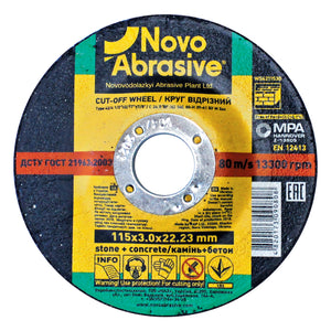 NOVOABRASIVE Stone Cutting Disc 115 x 3 x 22.23 mm - Novotools