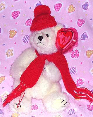 Peppermint the White Bear Red Hat & Scarf