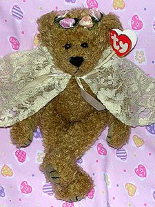 Eve the Tall Brown Bear with White Lace Cape