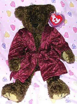 Tyrone the Tall Brown Bear W/Burgundy Smoking Jacket