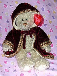 Gem the Tall White Bear W/Burgundy Cape