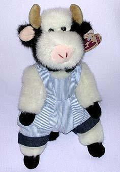 Madison the Cow with Blue Stripped Overall
