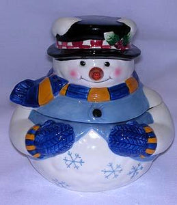 Snowman Ceramic Candy Jar