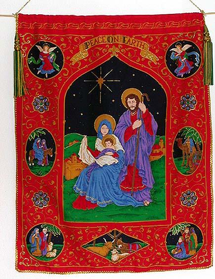 Tapestry Banner of The Holy Family