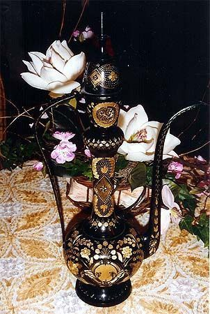 Gold Leaf Art Black Tea Pot from India