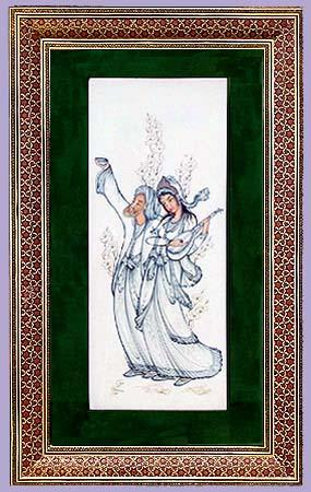 Original Iranian Art Hand Etched and Painted Framed in Iranian Mosaic