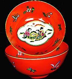 Hand Painted Oriental Scene China Bowl