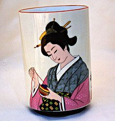 Hand Painted Japanese Lady Cup