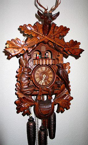 Black Forest Hunter`s 8 Day Musical Dancers Cuckoo Clock