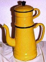 Belgian Drip Coffee Pot of Yellow Enamel