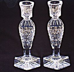 Bohemian Crystal Footed Candle Sticks