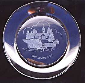 Glass Plate Embossed with Christmas Scene