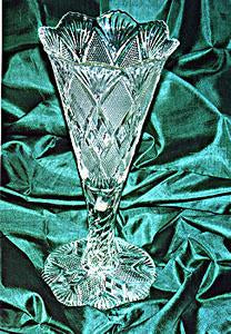 Brilliant Cut Fluted Crystal Footed Vase