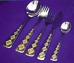 Flatware of INOX and 22K Gold Trim