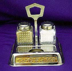 INOX and 22K Gold Trim Salt and Pepper Set