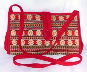 Red Felt and Tapestry Bag