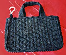 Hand Crocheted Bag lined in Black Brocade