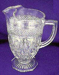 Footed Brilliant Glass Water Pitcher