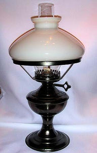 English Oil Lamp with Metal Plated Base