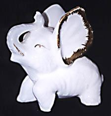 White & Gold Porcelain Elephant