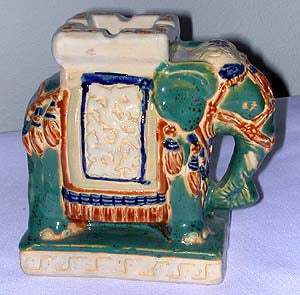 Hand Painted Porcelain China Elephant Ash Tray