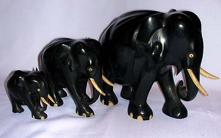 Ebony Wood Elephant Family Sculptures