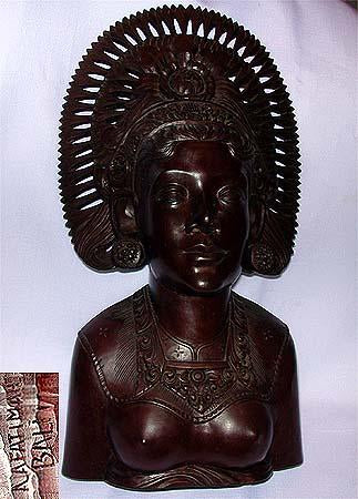 Hand Sculptured Balinese Goddess in Solid Ebony Wood