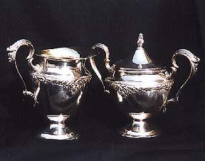 King Edward Silver Plated Cream & Sugar